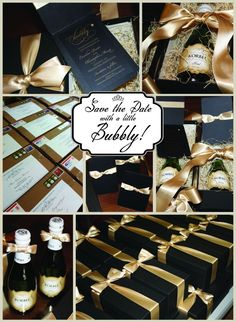 champagne save the dates are totally happening. what better for my brunch wedding!!