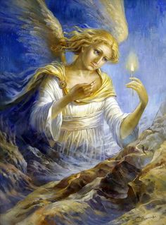 The artist Vjugova Rimma Nikolaevna Good Night Cat, Angel Guide, I Believe In Angels, Angels Among Us, Angel Cards, Guardian Angels, Renaissance Art, Star Children, Traditional Art
