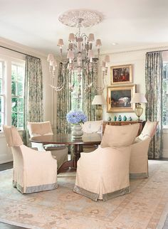 Designer Debbie Cummins' remodeled Buckhead dining room. Antique Italian chandelier.