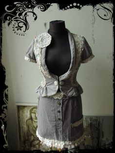 Hey, I found this really awesome Etsy listing at http://www.etsy.com/listing/157343591/upcycled-clothing-tattered-gray-short