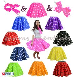 Adults POLKA DOT ROCK AND ROLL 50s SKIRT & SCARF FANCY DRESS COSTUME Hen Party