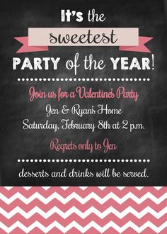 Chalkboard Style Printable Valentine Party by KickAssCraftsShop