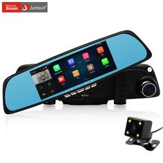 Vehicle GPS  Free Gift 32GB Card!! Junsun A700 Android 6.86 inch Car GPS Navigation DVR Rear view Mirror Camera automobile sat nav navigator