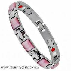 Braccialetto acciaio inossidabile con pietre rosa e ioni negativi (STB-2478C)