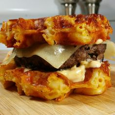 Waffled mac and cheese burger! Short video on my instagram account @tymbussanich  Blog tymbussanich.wordpress.com