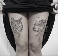 Artistic and Geometric Animals Tattoo Design by Nouvelle Rita