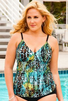 e10ba2a2f2cd1 Swim Sexy Cheetah Reptile Plus Size Side Shirred Tankini Top  http   womensqualityswimwears.