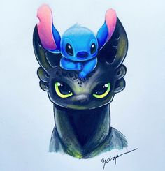 Toothless and stitch by them selves are cute but, even cuter together😻 Cute Disney Drawings, Cute Animal Drawings, Kawaii Drawings, Cute Drawings, Drawings Of Disney Characters, Amazing Drawings, Arte Disney, Disney Art, Disney Movies