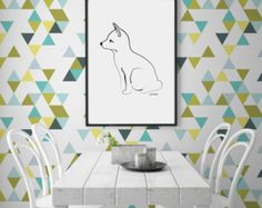 Triangle PEEL & STICK wallpaper Removable DiY makeover Repositionable CGhome for renters self adhesive