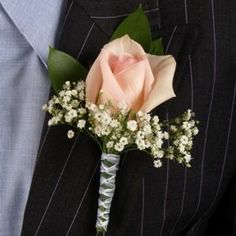 Classic Rose Light Pink and Ivory Boutonniere and Corsage Wedding Package