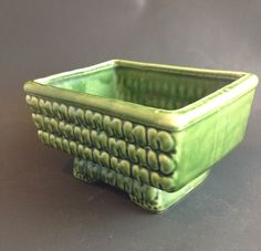 Vintage Mid Century Green Textured Asian by SheWhoPlaysWithGlass