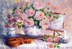 Puzzle de 3000 piezas de la marca Castorland en el que aparece un jarrón de rosas con violín. ¿No es precioso?