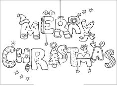 coloring pages that say merry christmas - Google Search