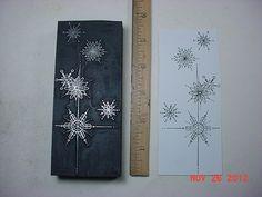 Large, CHRISTMAS Sparkling SNOWFLAKES * Letterpress Printers Block