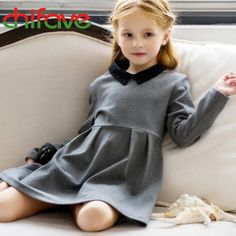 (120.46$)  Know more - http://aiwhp.worlditems.win/all/product.php?id=32787133277 - 2017 Cute Baby Girls Dress Peter Pan Collar Full Length Sleeve Ruched A-Line Dress Fashion Chilren Clothes Suit 3-7 Ages Girls