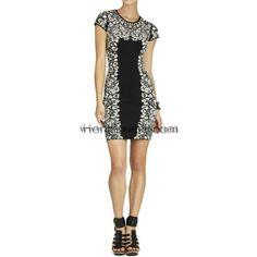 Herve Leger White Flower Printed Black Bandge Dress HL597WB