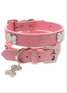 Pink Leather Diamante Collar & Diamante Bone Charm & Leash - Leather Collars Posh Puppy Boutique