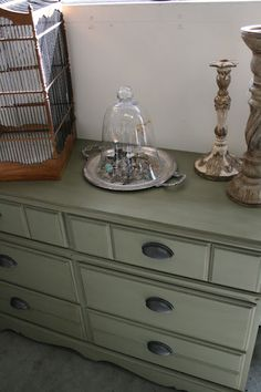 Chateau Gray Annie Sloan paint. Thinking about painting our guest room furniture this color and changing out the hardware.