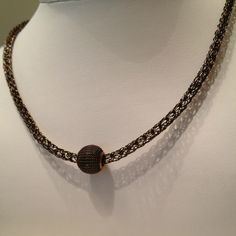 Ladies viking knit chain choker chocolate brown antique bronze bead, $30