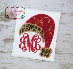 Santa Hat Applique Design Machine Embroidery by AppleDumplinDesign