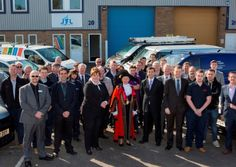 March 2015 News: Training centre offers hope to 100 aspiring electricians in East Anglia.  Lord Mayor of Norwich, councillor Judith Lubbock, and guests outside the new JTL training centre for electronics apprentices in at the Bowthorpe Industrial Estate in Norwich.