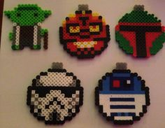 Star Wars Ornaments - Darth Maul, R2D2, Boba Fett, Stormtrooper, Yoda perler beads by Paloma & Russ Ellis