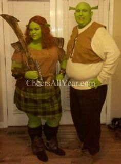 Shrek and Warrior Fiona in Shrek Forever After Costume  sc 1 st  Pinterest : shrek and fiona halloween costumes  - Germanpascual.Com