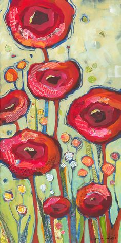 Poppies Red Flowers Original Painting and paper collage