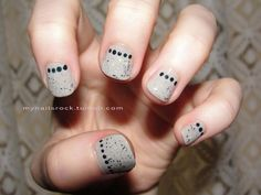 dots and #grey with #glitter #nailart