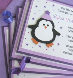 Purple Penguin Birthday Party by plumcakeparties on Etsy