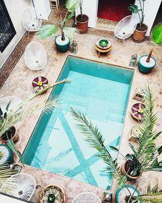 5 Beautiful Riads in Marrakech :: This Is Glamorous Riads In Marrakech, Medina Marrakech, Cedar Door, Moroccan Furniture, Interior Garden, Interior Design, Moroccan Art, Rose Marie