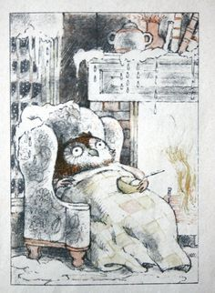 Owl tucked in cozy by the fire, belly full of heart hoot hoot.