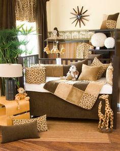 Cheetah Baby Crib Bedding - Take a walk on the wild side with this  whimsical jungle themed bedding! Super soft cheetah print combined with chocolate and  caramel velvets framed in a honey colored cord create a soothing space for your little one.