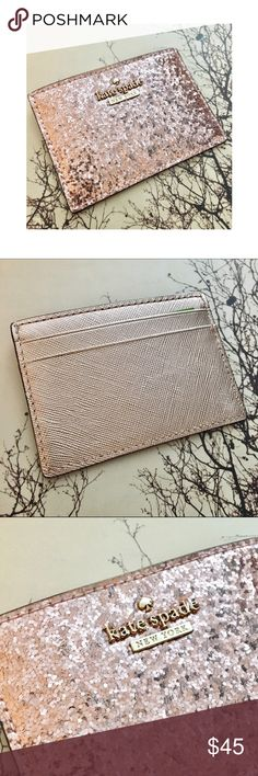 Kate Spade Rose Gold Glitter Bug Cardholder NWT Price is firm or I'll just keep ;) Beautiful rose gold glitter bug cardholder. Multiple slots to hold your ID and credit cards. All card slots are lined in creme silk like fabric. **Matching earrings for sale in a separate listing :) **No trades kate spade Bags Wallets