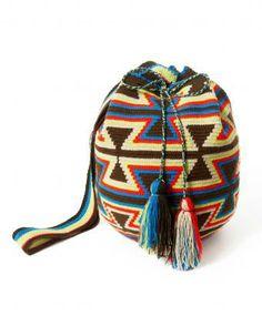 Medium Brown & Neon Wayuu Mochila Bag