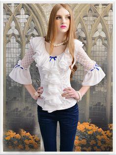 Morpheus Boutique  - White Lace Ruffle 3/4 Sleeve Vintage Style Hem Shirt, $99.99 (http://www.morpheusboutique.com/white-lace-ruffle-3-4-sleeve-vintage-style-hem-shirt/)
