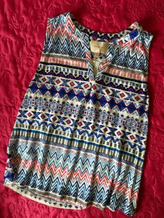 Stitch Fix- colors, pattern, knit, yes please! Skies are Blue - Posie Knit Tank