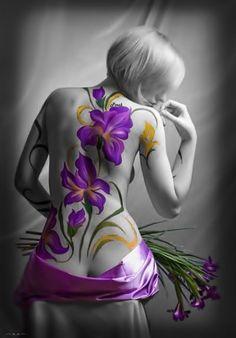 Back tattoo, body art. Purple Flower Tattoos, Purple Flowers, Purple Iris, Purple Haze, Pretty Flowers, Lilac, See Tattoo, Back Tattoo, Iris Tattoo