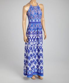 Another great find on #zulily! Blue Flourish Maxi Dress by London Times #zulilyfinds