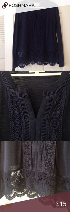 Skies are Blue Long-sleeve Lace Top Navy blue long-sleeved tee from Skies are Blue (purchased from Stitchfix).  Split neck with navy blue lace that runs vertically from top to bottom.  Lace on bottom edge.  Very slight pilling, but isn't noticeable.  Perfect for cooler summer nights!  Great used condition. Skies are Blue Tops Tees - Long Sleeve