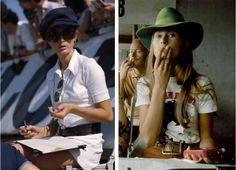 Photos of Nina Rindt, wife of Formula One Lotus-Ford team racer Jochen Rindt, keeping time in a pit stop at the Silverstone Circuit during the British Grand Prix, 1969;