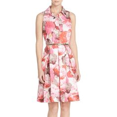 Eliza J Floral Print Faille Shirtdress (270 BGN) ❤ liked on Polyvore featuring dresses, pink, sleeveless pleated dress, floral shirt dress, pink pleated dress, pink dress and flower print dress