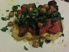 seared flank steak with chimichurri over creamy polenta - Keith