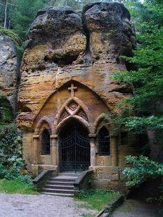 St Ignatius Rock Chapel in Modlivý Důl, Czech Republic, entirely hollowed out of a free-standing block of sandstone, first mentioned in year Abandoned Churches, Old Churches, St Ignatius, Church Pictures, Take Me To Church, Church Architecture, Cathedral Church, Church Building, Place Of Worship