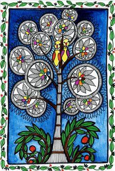 These are illustrations inspired by Madhubani painting--a folk art from India Madhubani Paintings Peacock, Madhubani Art, Kalamkari Painting, Pichwai Paintings, Indian Art Paintings, Gond Painting, Fabric Painting, Indian Folk Art, India Art