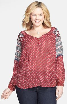 this should be longer, but it's not bad - Lucky Brand 'Petaluma' Peasant Top (Plus Size) available at #Nordstrom