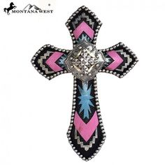Pink Chevron & Large Concho Montana West Wall Hanging Cross