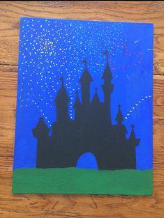 Cinderella's Castle Disneyworld Fireworks Painted on 11 x 14 Canvas - Acrylic on Etsy, $17.00