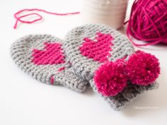 Baby Heart Mittens with Pom Poms