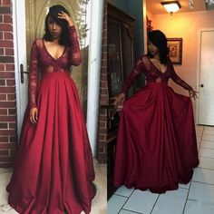 Burgundy Prom Dresses Long Sleeve Applique Floor Length